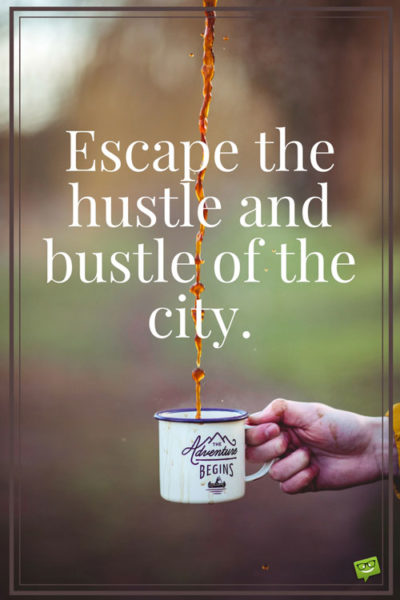 Escape the hustle and bustle of the city.