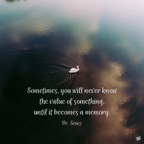 Sometimes you will never know the value of something, untill it becoms a memory. Dr. Seuss.