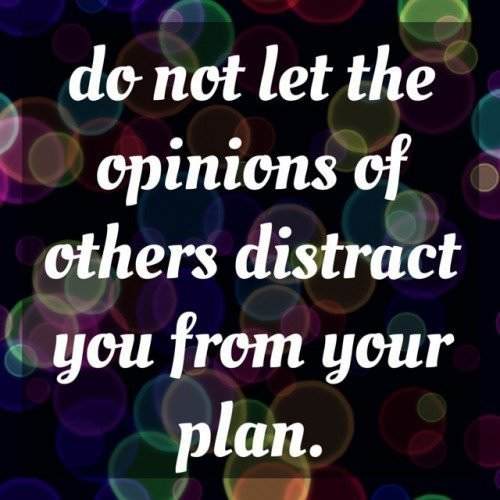 Do not let the opinions of others distract you from your plan.