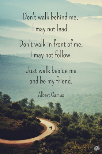 Don't walk in front of me… I may not follow Don't walk behind me… I may not lead Walk beside me… just be my friend Albert Camus