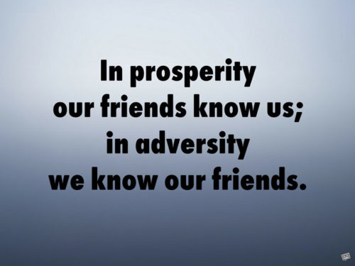 In prosperity our friends know us; in adversity we know our friends.