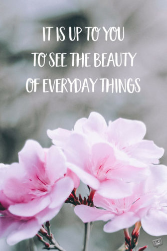 It's up to you to see the beauty of everyday things.