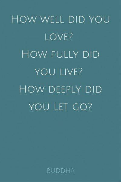 How well did you love? How fully did you live? How deeply did you let go? Buddha.