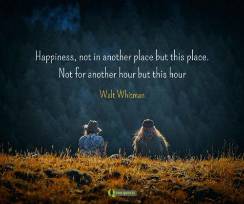 Happiness, not in another place but this place. Not for another hour but this hour. Walt Whitman