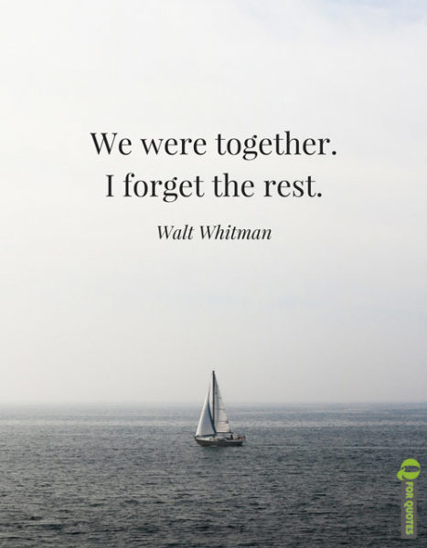 Short Romantic Love quote by Walt Whitman.