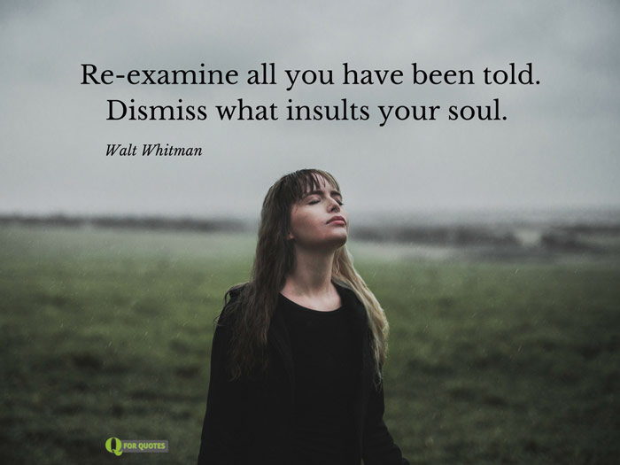 Re-examine all you have been told. Dismiss what insults your soul. Walt Whitman