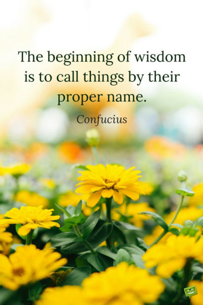 The beginning of wisdom is to call things by their proper name. Confucius