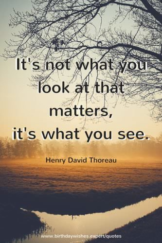It's not what you look that matters, it's what you see. Henry David Thoreau.