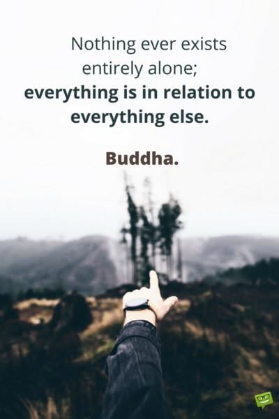 Nothing ever exists entirely alone; everything is in relation to everything else. Buddha.