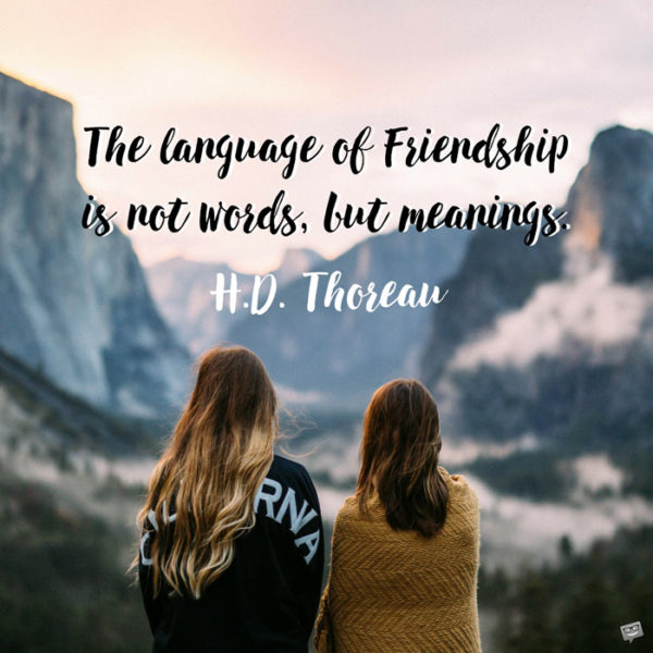 The language of Friendship is not words, but meanings. Henry David Thoreau.