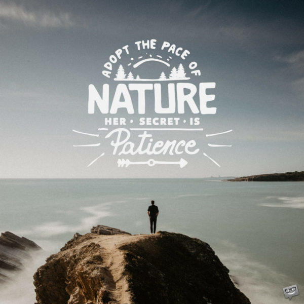 Adopt the pace of nature. Her secret is patience.