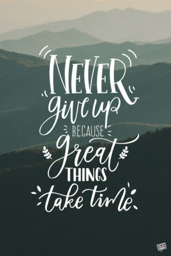 Never give up because great things take time.