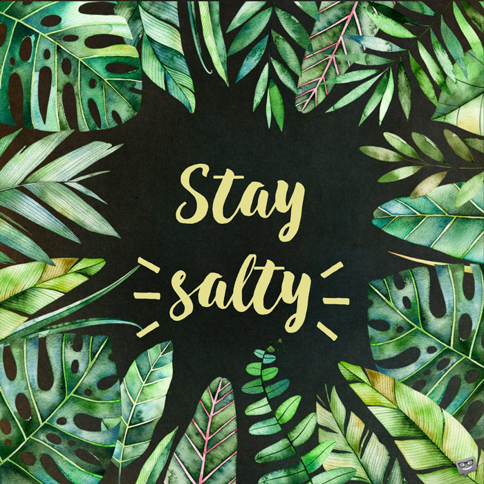 Stay Salty Summer Quote Tropical Background Calligraphy graphic design style slogan for shop, promotion, motivation, poster, card, decoration, sticker. birthday wishes expert