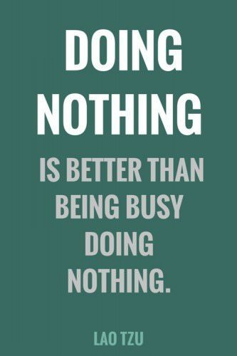 Doing nothing is better than being busy doing nothing. Lao Tzu