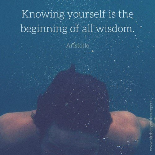 Knowing yourself is the beginning of all