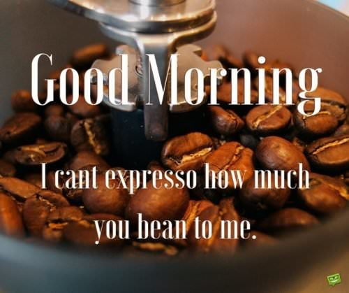Good morning. I can't expresso how much you bean to me.