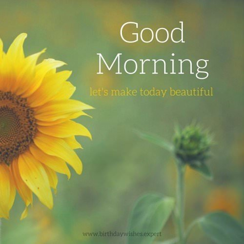 Good Morning, let's make today beautiful.