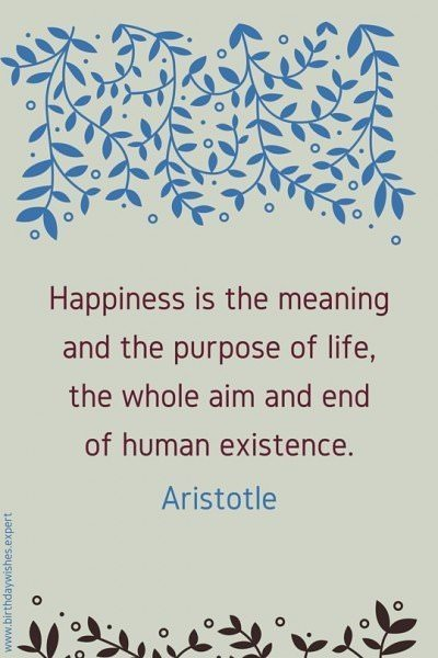Happiness is the meaning and the purpose of life, the whole aim and end of human existence. Aristotle.