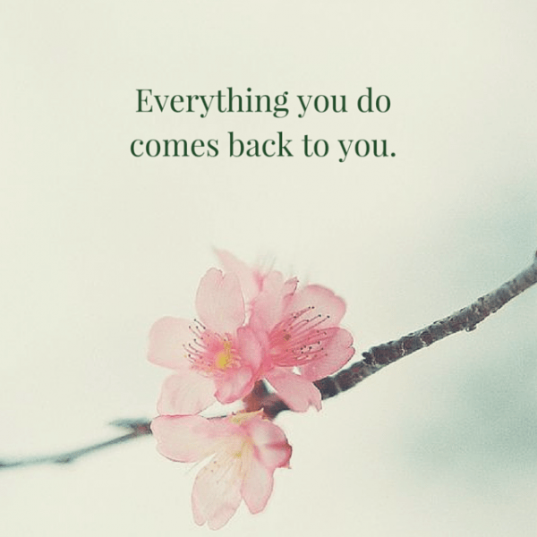 Everything you do comes back to you.