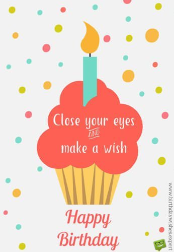 Happy Birthday. Close your eyes and make a wish. Image with ice cream illustration