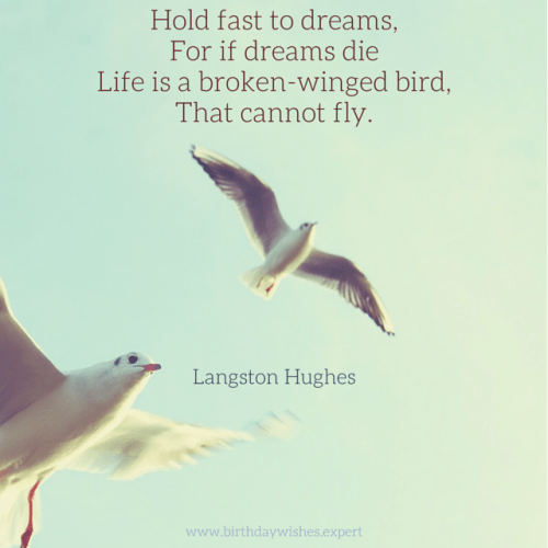 Hold fast to dreams, for if dreams die, life is a broken-winged bird, that cannot fly. Langston Hughes.