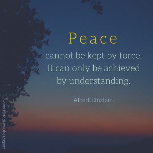 Peace cannot be kept by force. It can only be achieved by understanding. Albert Einstein.
