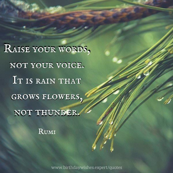 Raise your words, not your voice. It is rain that grows flowers, not thunder. Rumi