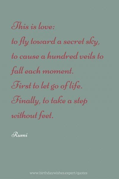 This is love: to fly toward a secret sky, to cause a hundred veils to fall each moment. First to let go of life. Finally, to take a step without feet. Rumi