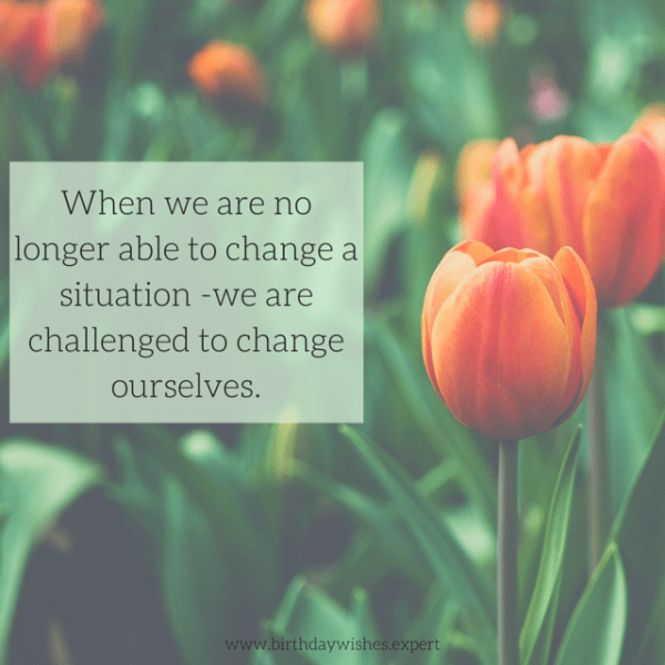 When we are no longer able to change a situation -we are challenged to change ourselves.