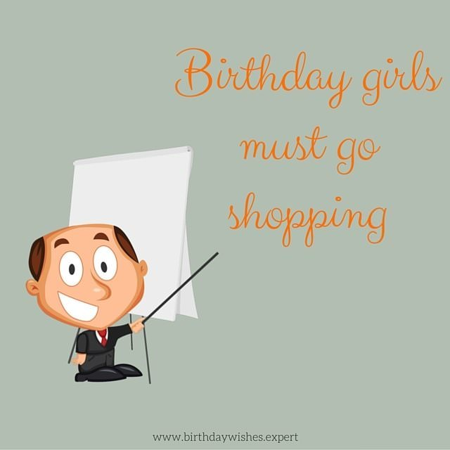 Birthday girls must go shopping. Birthday image for girls.