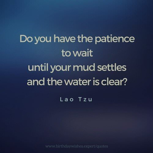 Do you have the patience to wait until your mud settles and the water is clear? Lao Tzu