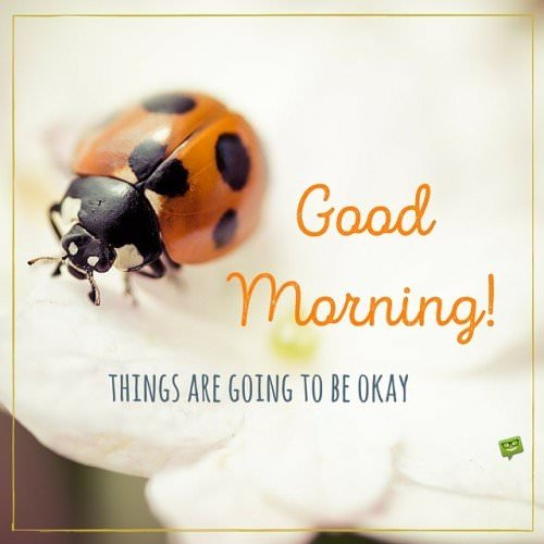 Good Morning. Things are going to be okey.