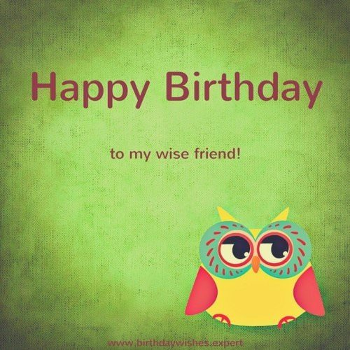 Happy Birthday image with wise owl.