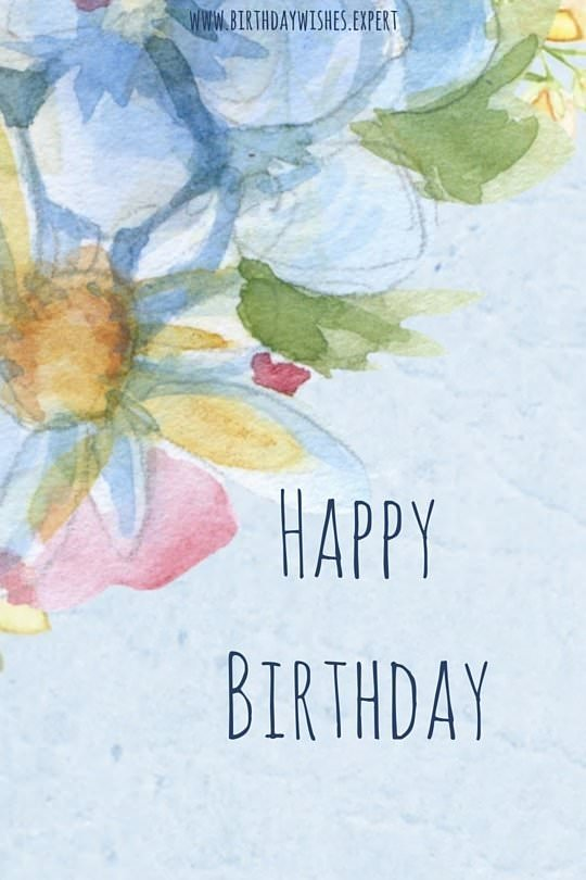 Happy Birthday wish on an image with watercolors