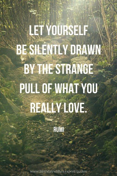 Let yourself be silently drawn by the strange pull of what you really love. Rumi