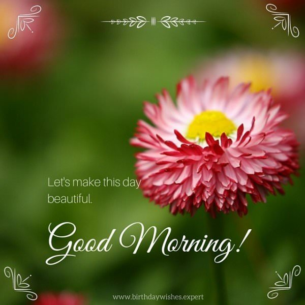 Let's make this day beautiful. Good Morning.