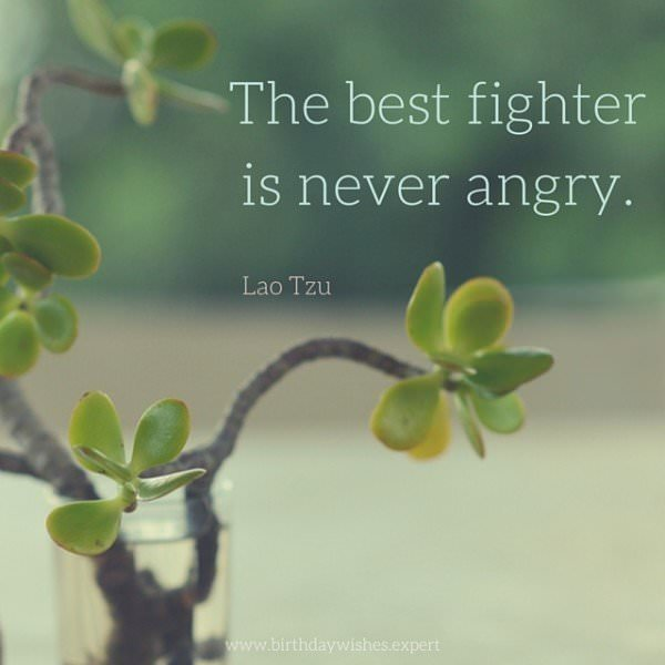 The best fighter is never angry. Lao Tzu