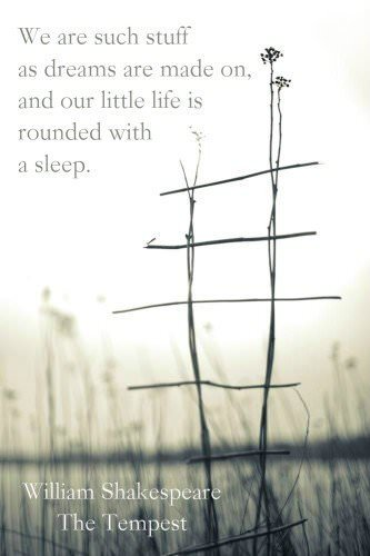 We are such stuff as dreams are mad on, and our little life is rounded with a sleep. William Shakespeare - The tempest