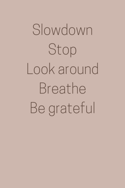 Slowdown, Stop, Look around, Breath, Be grateful.