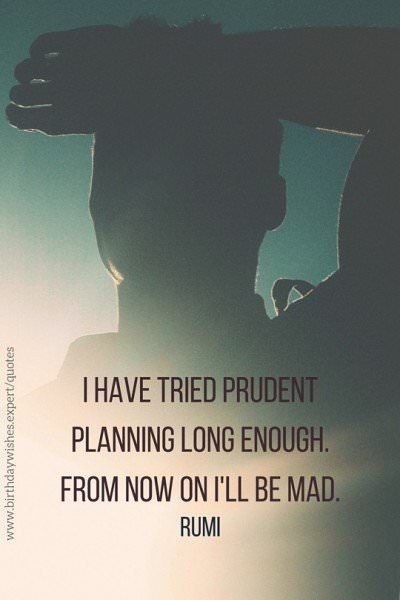 I have tried prudent planning long enough. From now on I'll be mad. Rumi.