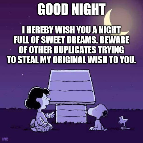 Funny Good Night meme with Snoopy.