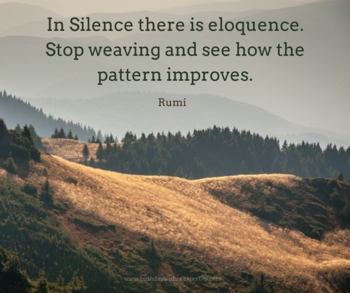In Silence there is eloquence. Stop weaving and see how the pattern improves. Rumi.