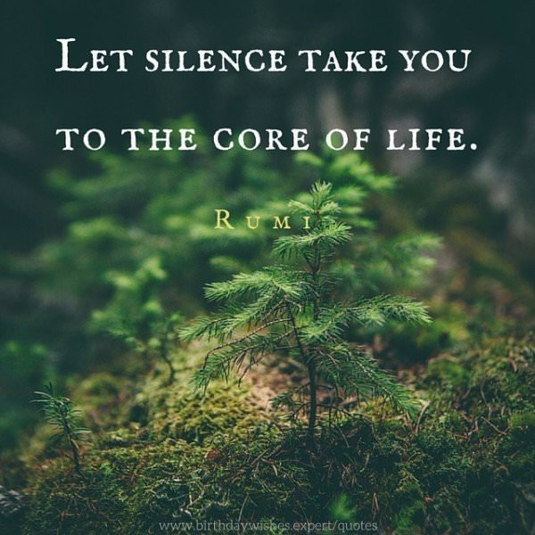 Let silence take you to the core of life. Rumi.
