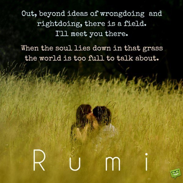 Out beyond ideas of wrongdoing and rightdoing there is a field. I'll meet you there. When the soul lies down in that grass the world is too full to talk about. Rumi