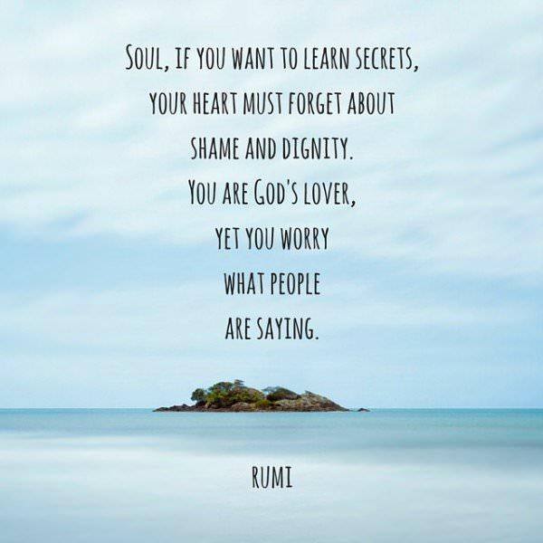 Soul, if you want to learn secrets, your heart must forget about shame and dignity. You are God's lover, yet you worry what people are saying. Rumi.