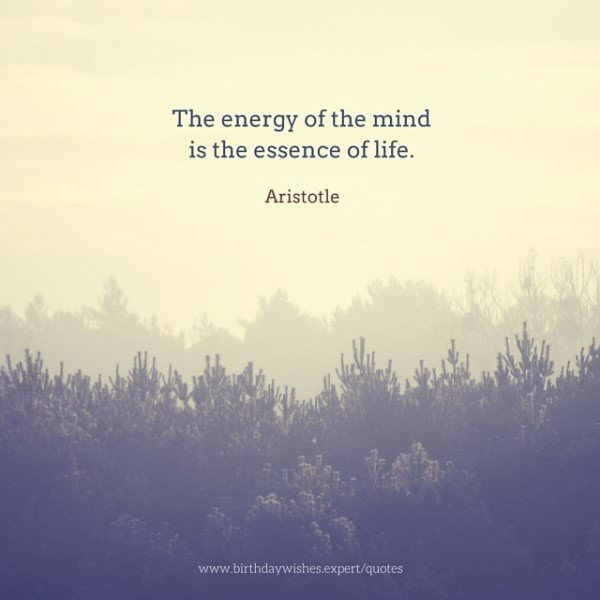 The energy of the mind is the essence of life. Aristotle