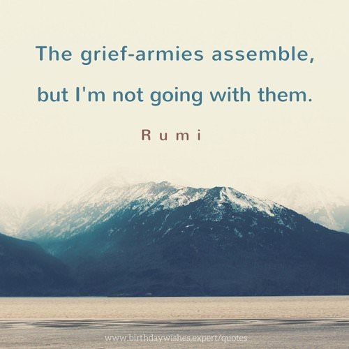The grief-armies assemble, but I'm not going with them. Rumi.