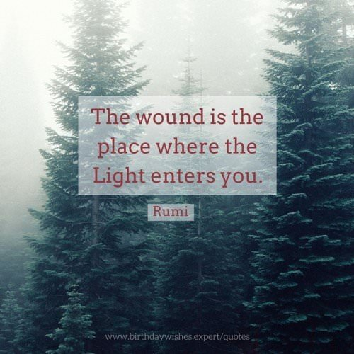 The wound is the place where the Light enters you. Rumi.