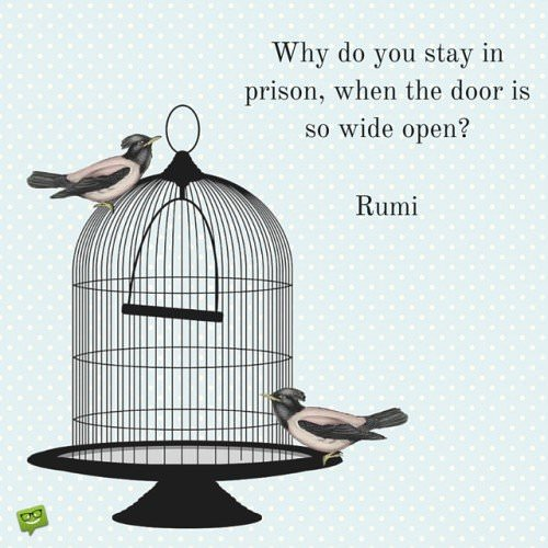 Why do you stay in prison, when the door is so wide open? Rumi.