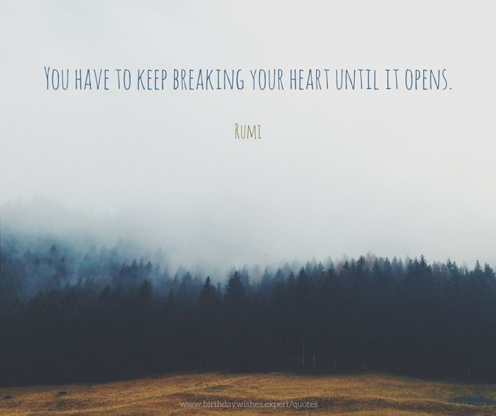 You have to keep breaking your heart until it opens. Rumi.